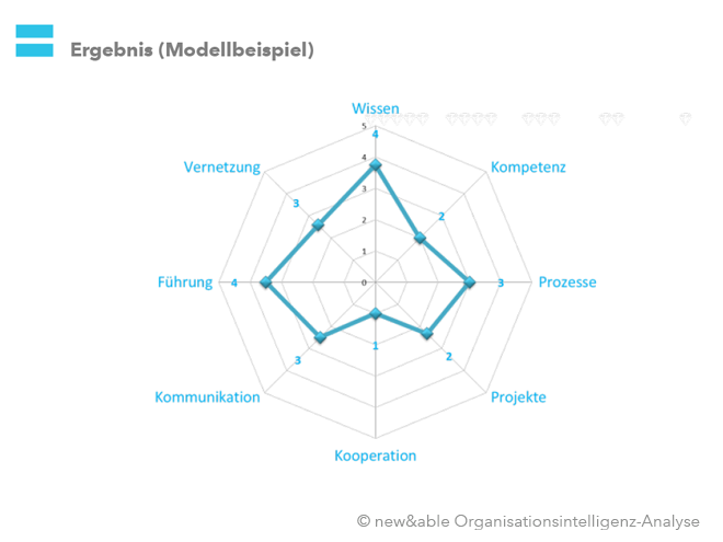 Organisationsintelligenz-Analyse: Ergebnisse (Spinne). Bild: copy new&able